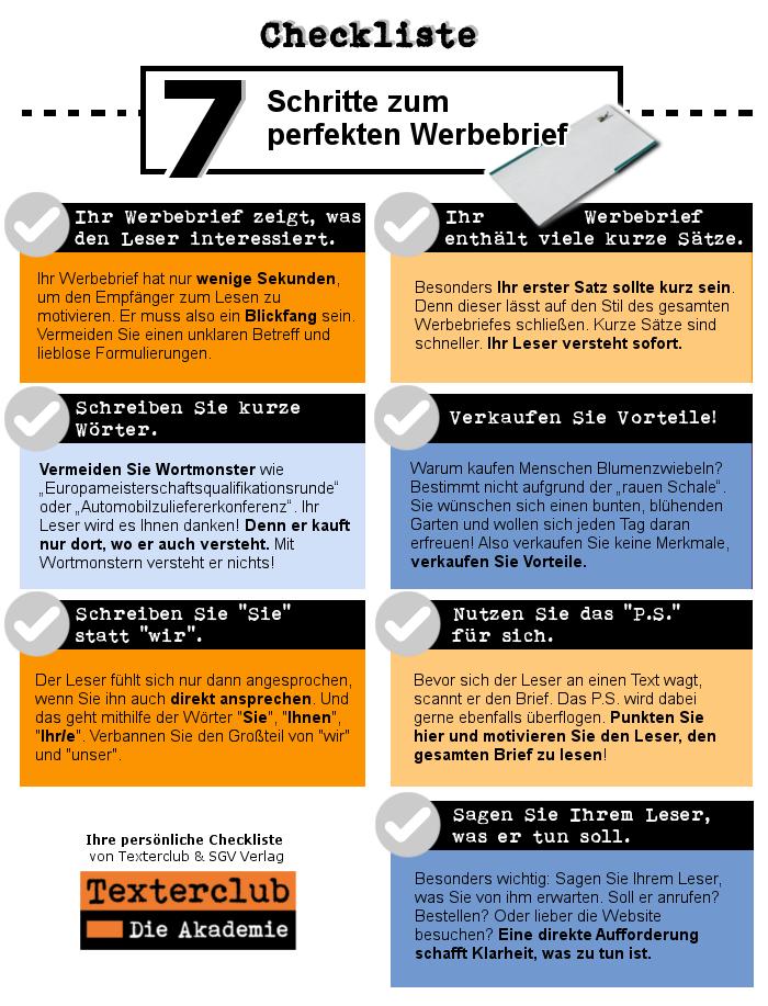 Infografik Checkliste Werbebrief