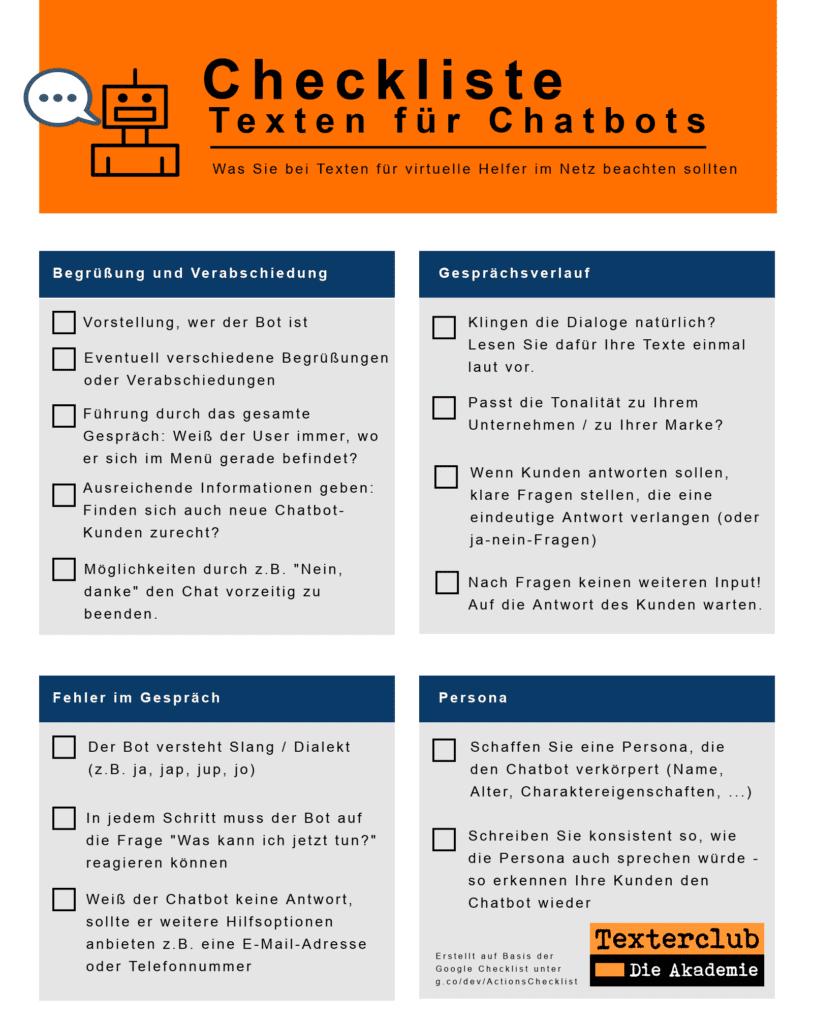 Texte für Chatbots: Checkliste