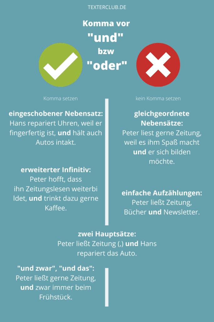 Infografik Komma vor und oder